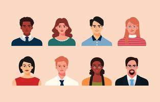 Business People Avatar Set in Flat Style vector