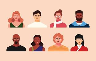 Multicultural People Avatar Collection in Flat Style vector