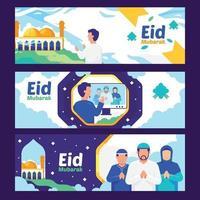 Eid Mubarak Banner Collection vector