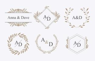 Wedding Foliages Monogram Initial Template vector