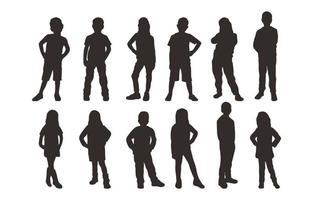 Kids in Various Poses Silhouette Collection vector