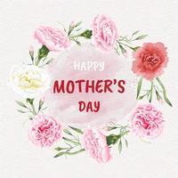 Tarjeta del día de la madre feliz con marco de círculo de flores de clavel