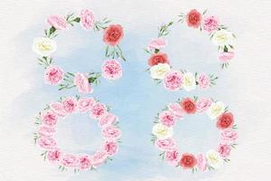 Watercolor carnation flower circle frame set vector