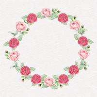 ilustración de corona de rosas acuarela vector