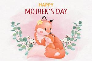 Happy mothers day card with foxes illustration vector
