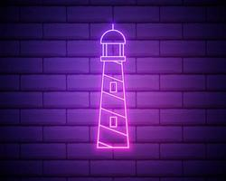 Glowing neon Lighthouse icon isolated on brick wall background. Vector Illustration