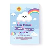 Baby shower invitation template and greeting card. Vector illustration. Hand drawn. Flat design.