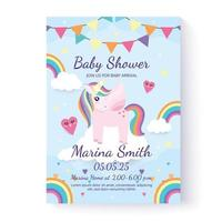 Unicorn baby shower invitation template and greeting card. Vector illustration. Hand drawn. Flat design.