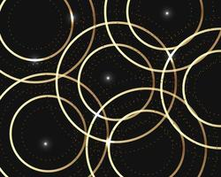 Abstract luxury geometric overlapping on black background with glitter and golden lines glowing dots golden combinations. vector