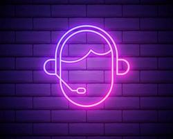 Glowing neon line Man with a headset icon isolated on brick wall background. Support operator in touch. Concept for call center, client support service. vector