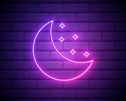Simple moon. Weather symbol. Linear icon with thin outline. Neon style. Light decoration icon. Bright electric symbol isolated on brick wall vector