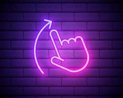 Swipe Up pink glowing neon ui ux icon. Glowing sign logo vector isolated on brick wall.