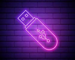 Icono de resplandor de neón del controlador flash USB. línea delgada simple, vector de contorno de iconos de tecnología para ui y ux, sitio web o aplicación móvil aislado en la pared de ladrillo