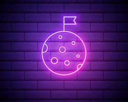Flag on the moon neon icon. Elements of web set. Simple icon for websites, web design, mobile app, info graphics isolated on brick wall vector