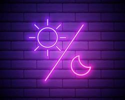 Glowing neon Sun and moon icon isolated on brick wall background. Weather daytime and night. vector
