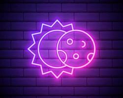 Glowing neon line Eclipse of the sun icon isolated on brick wall background. Total solar eclipse. vector