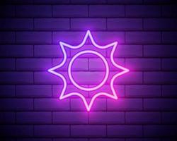 Sun pink glowing neon ui ux icon. Glowing sign logo vector isolated on brick wall backogrund.