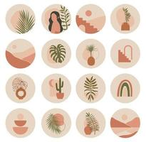 Big set of contemporary vector highlight covers. Abstract boho backgrounds. Mid century various shapes, lines, spots, dots, doodle objects. Hand drawn templates. Round icons for social media stories.