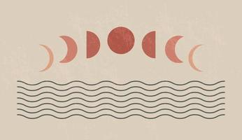 Mid century modern minimalist art print with organic natural shape. Abstract contemporary aesthetic background with geometric Moon phases and sea. Boho wall decor. vector