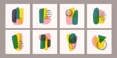 Contemporary templates with organic abstract shapes and line in retro colors. Pastel boho background in minimalist mid century style vector Illustration