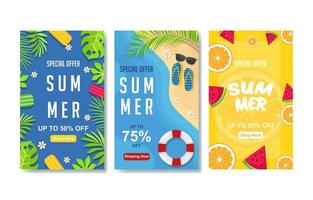 Colorful Summer Banner Set vector
