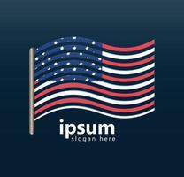 USA flag logo design template full editable vector