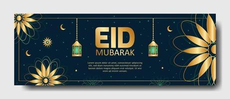 Eid Mubarak banner or poster design. editable Islamic background template vector