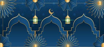 Fondo islámico con seguidores plantilla editable completa. vector
