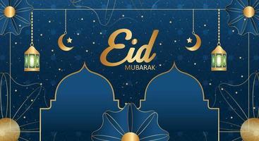Tarjeta eid mubarak o diseño de banner. plantilla de fondo editable islámico vector