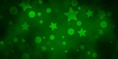 Dark Green vector texture with circles, stars.