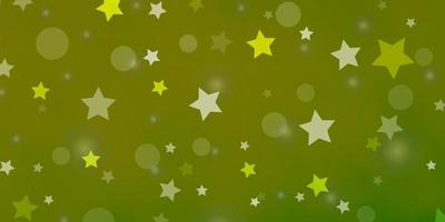 Light Green, Yellow vector background with circles, stars.