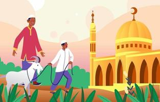 celebrar el concepto de eid al adha vector