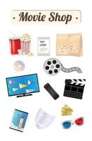 Movie shop wood board with pop corn film cd disc dvd movie box smart television film remote ticket emotion mask 3d glasses vector
