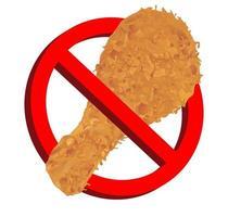 No hay comida con pollo frito señal de prohibición de icono vector