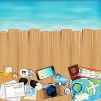 tropical travel object set on wood with sea vector