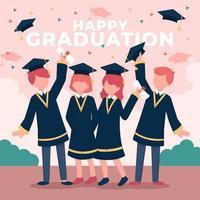 estudiantes universitarios celebrando su graduación vector
