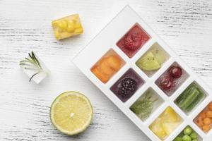 Top view assortment of frozen fruit in an ice tray photo
