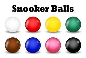 snooker balls set on a white background vector