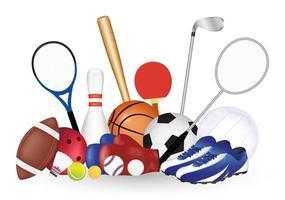 group of sport equipment vector