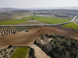 Aerial scenery view of agricultural land photo