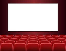 filas de asientos rojos frente a la pantalla blanca en blanco vector