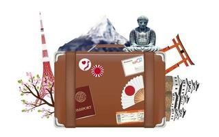 suitcase travel bag with japan icon and  landmark vector