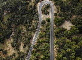 vista aérea del paisaje de la carretera forestal foto