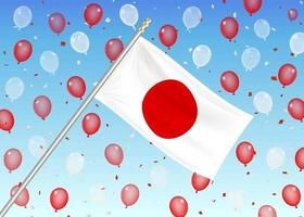 japan flag on sky with red and white balloons vector