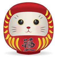 Japan Daruma doll with cat face vector