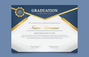 Blue and Gold Graduation Certificate Awards Template vector