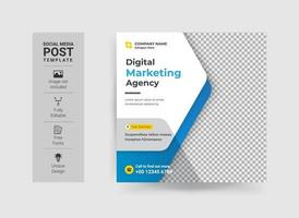 Editable Business Corporate Social media post Design template. Creative and modern web ads banner, square banner, promotional social ads design. vector