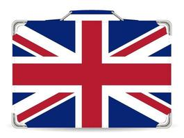 England flag on suitcase travel bag vector