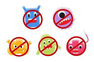 virus cartoon with ban circle vector