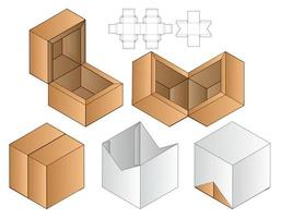 Diseño de plantilla troquelada de embalaje webbox. Maqueta 3d vector